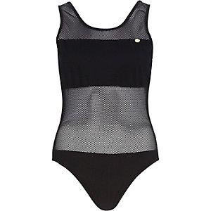 Black Pacha mesh panel open back swimsuit