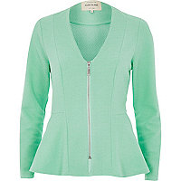Green collarless peplum jacket