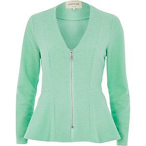 Green collarless peplum jacket