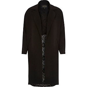 Black light half lace back duster jacket