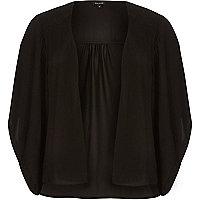 Black satin boxy kimono