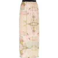 Pink print woven maxi skirt