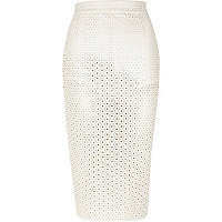 Cream leather-look punched pencil skirt