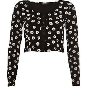 Black daisy print hook and eye crop top
