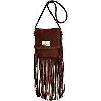 Brown leather fringed cross body bag