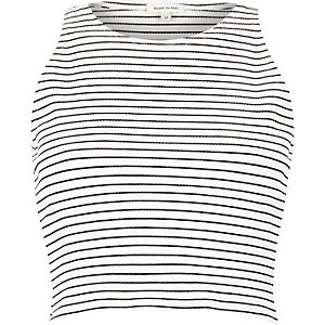 Cream stripe ribbed racer crop top