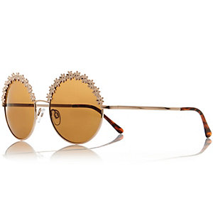 Gold tone flower frame round sunglasses