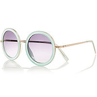 Light blue ombre round sunglasses