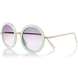 Light blue ombre round sunglasses