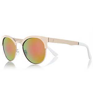 Gold metal frame mirror lens round sunglasses