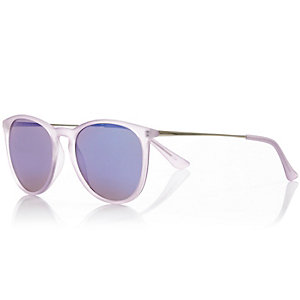 Light purple frosted round sunglasses