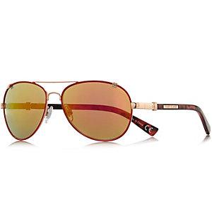Red contrast rim aviator sunglasses