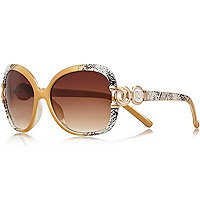 White snake print oversized square sunglasses