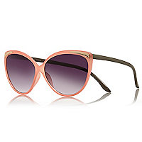 Coral metallic insert cat eye sunglasses