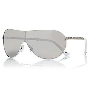 White chain arm visor sunglasses