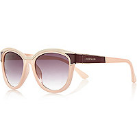 Light pink metal brow cat eye sunglasses