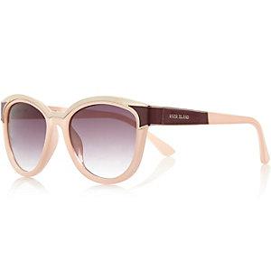 Light pink metal brow cat eye sunglasses