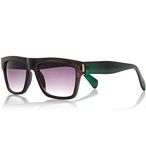 Black colour block flatbrow chunky sunglasses