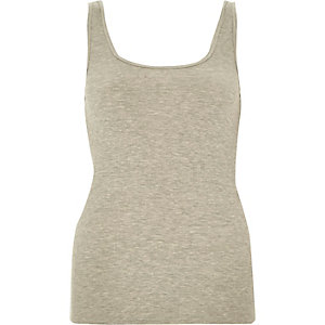 Light grey ribbed scoop neck tank