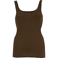 Khaki ribbed scoop neck vest