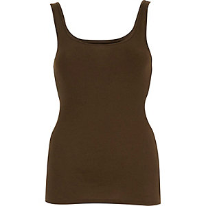 Khaki ribbed scoop neck tank