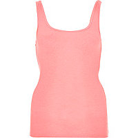 Pink ribbed scoop neck vest