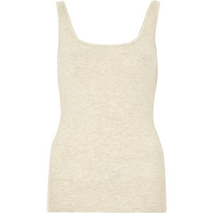 Light beige ribbed scoop neck vest