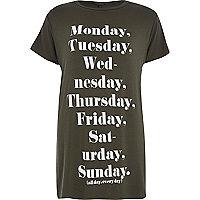 Khaki weekdays longline side split t-shirt