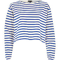Blue stripe boxy cropped top