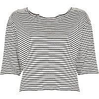 Navy stripe bow back t-shirt