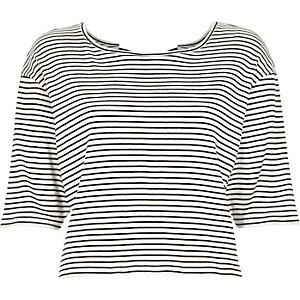 Navy stripe bow back t-shirt