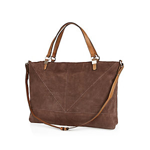 Dark brown suede shopper handbag