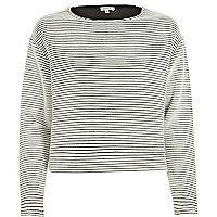 Navy stripe ottoman ribbed texture sweatshirt