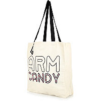 Cream arm candy print canvas shopper bag