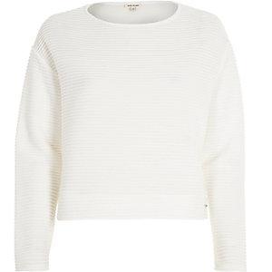 White ottoman ribbed texture sweatshirt