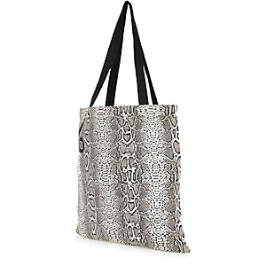 Cream snake print canvas shopper bag