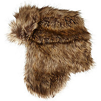 Brown faux fur trapper hat