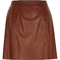 Brown leather-look mini skirt