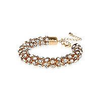 Gold tone diamante encrusted rope bracelet