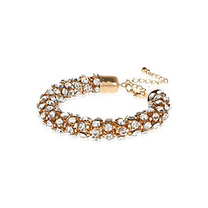 Gold tone diamante encrusted rope bracelet