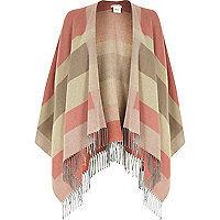 Pink stripe tassel blanket cape