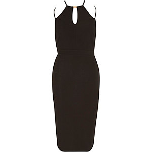 Black strappy bodycon pencil party dress