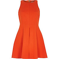 Orange textured sleeveless skater dress