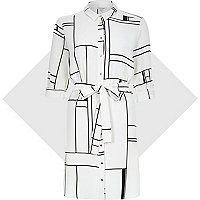 White window pane print shirt dress