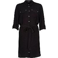 Black loose shirt dress