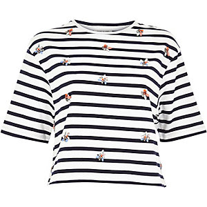 Navy stripe embellished boxy t-shirt
