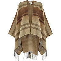Brown stripe blanket tassel cape