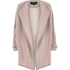 Light purple wool blend drape slouchy coat