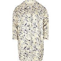 Cream floral jacquard cocoon coat