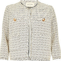 Cream flecked boxy tweed jacket